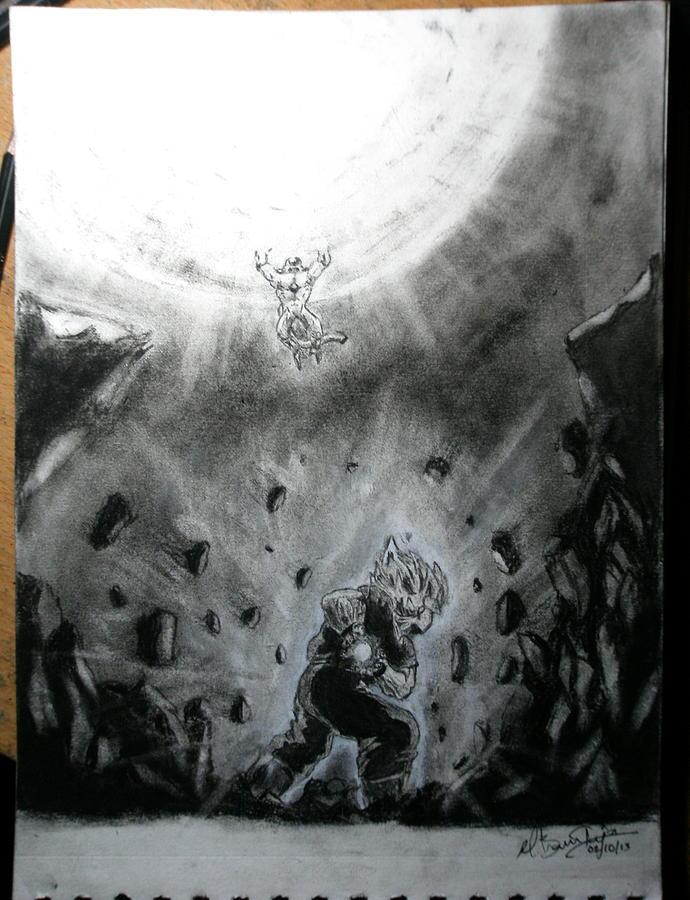 Dragon Ball Z Drawing - Goku Vs. Frieza by Bhanu Teja Mamidala