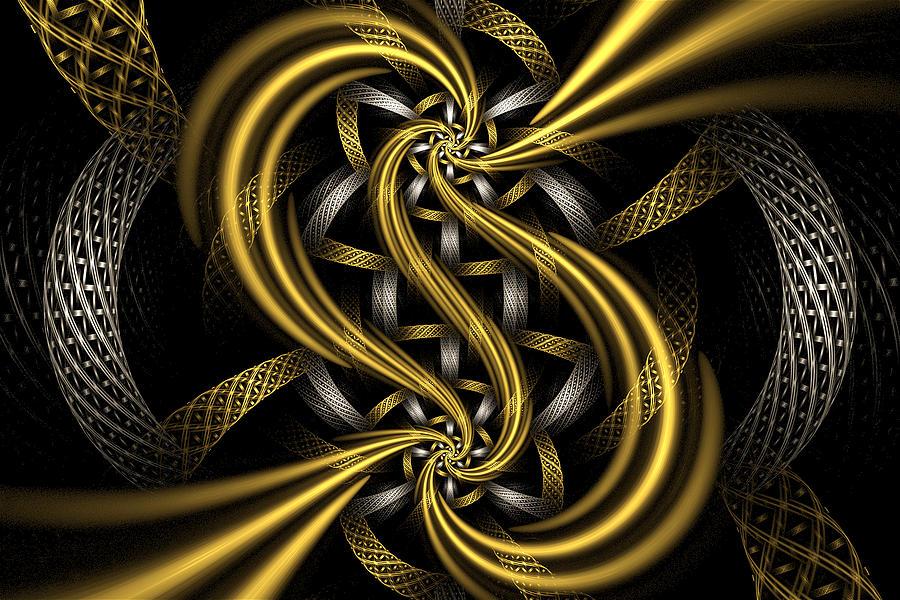 Fractal Digital Art - Gold And Silver by Sandy Keeton