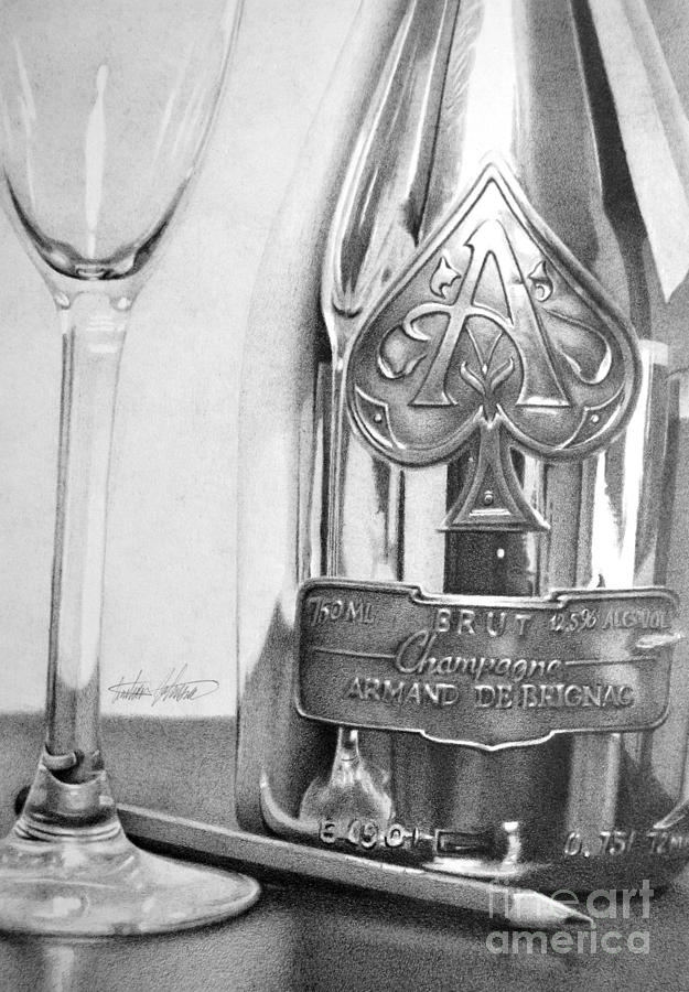 Drawing Drawing - Gold Bottle by Anthony Johnson