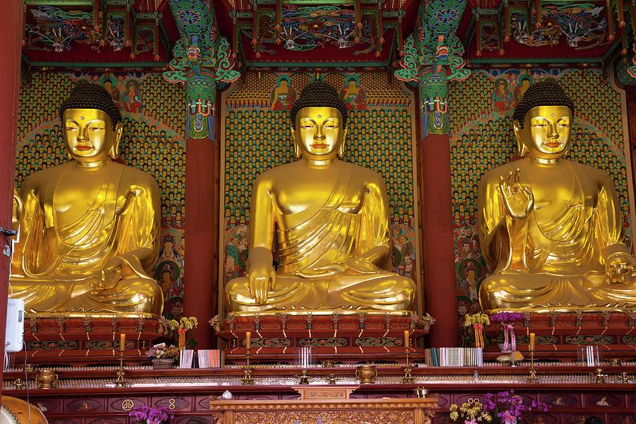 Gold Budha Statues Seoul, South Korea Photograph by Holgs