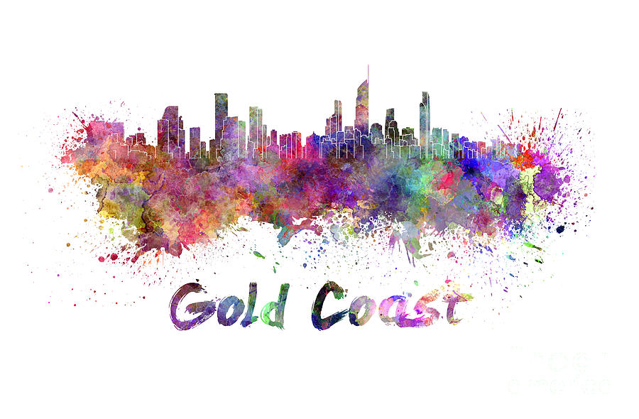 Gold Coast Skyline In Watercolor Painting By Pablo Romero