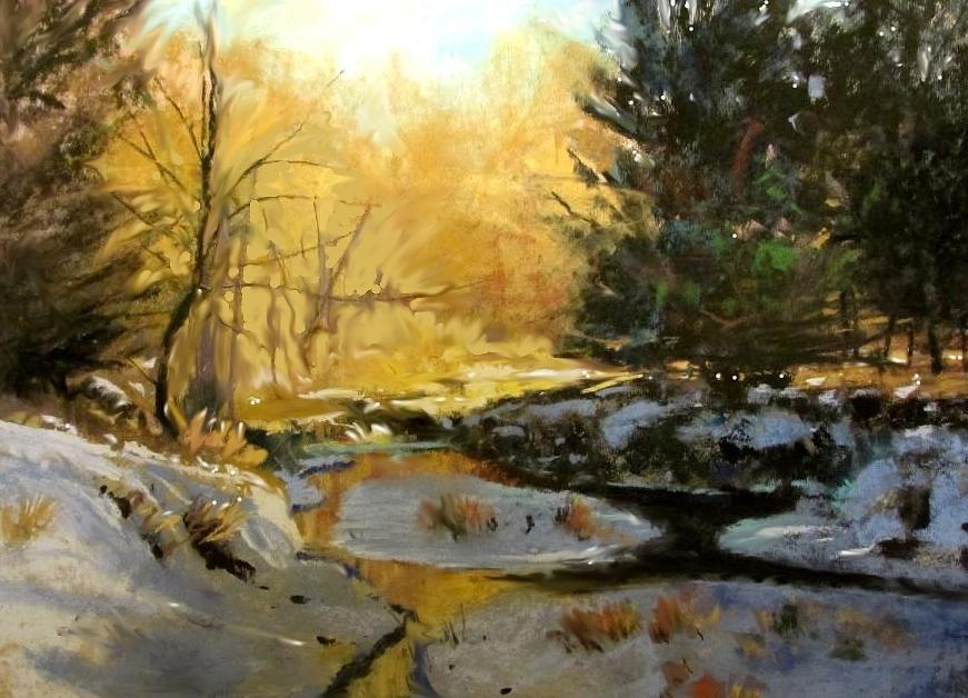 Gold Creek Glow Painting by Joseph Barani