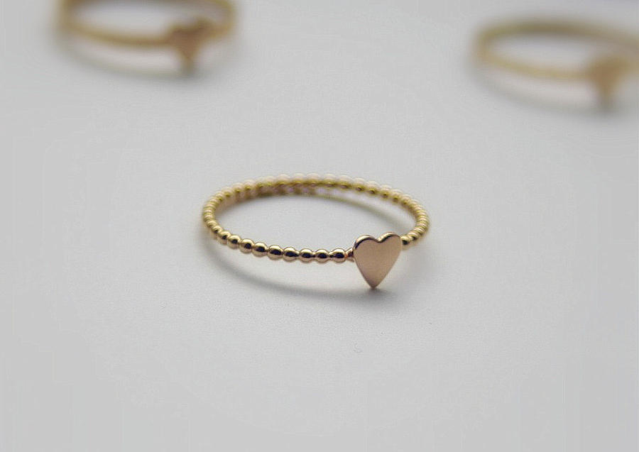 Gold Filled Stacking Ring Heart Ring Bridal Jewelry Valentine
