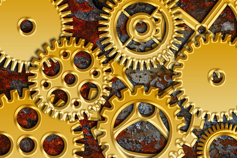 Gold Gears On Grunge Texture Background Photograph
