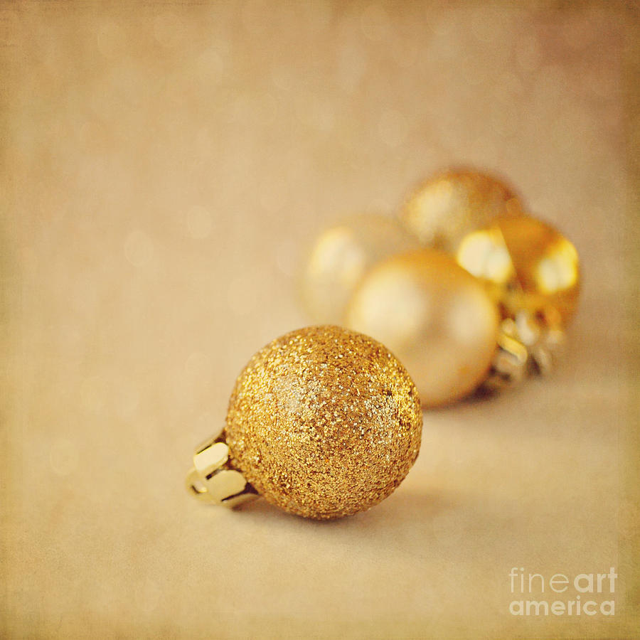 Baubles Photograph - Gold Glittery Christmas Baubles by Lyn Randle