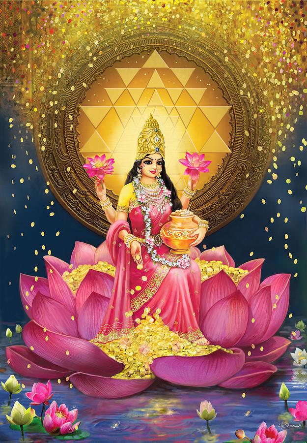 Mandala Painting - Gold Lakshmi by Lila Shravani