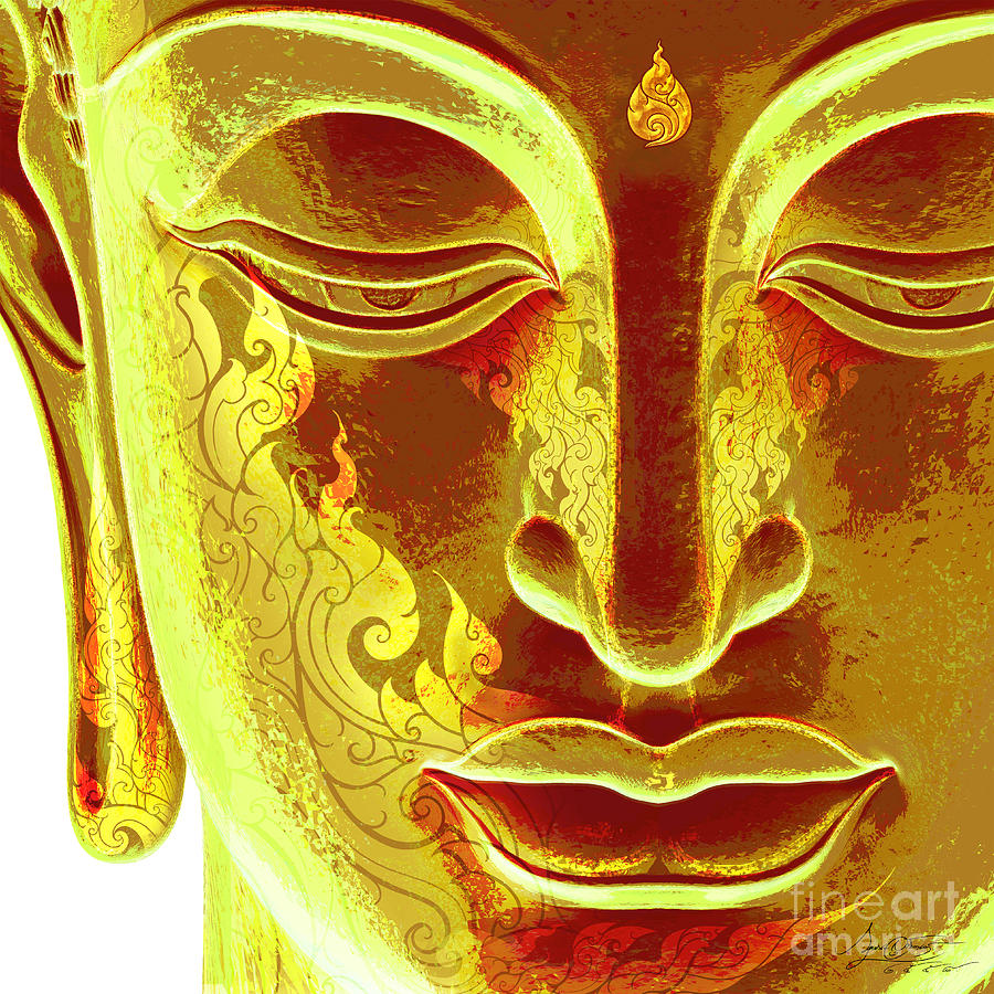 Gold Light Buddha Face Digital Art by Krishna Suriyagarn