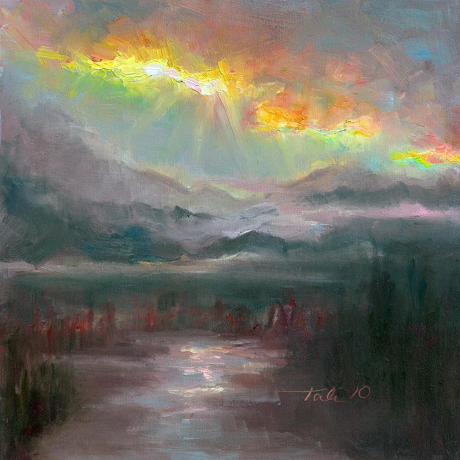 Scenic Painting - Gold Lining - Chugach Mountain Range En Plein Air by Talya Johnson