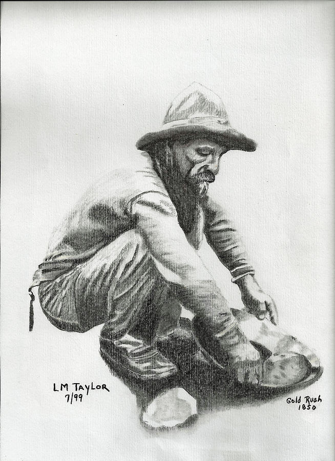 gold miner from 1850 drawing by linda taylor