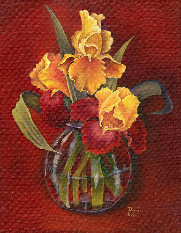 Oil Painting - Gold N Red Iris by Doreta Y Boyd