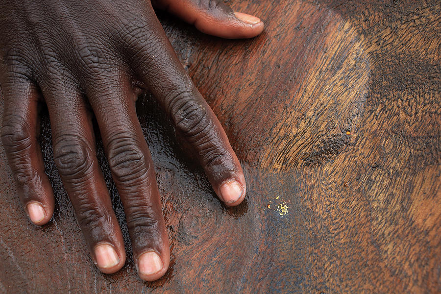 Gold Panning, Gold And Hand, Ethiopia Photograph by Dietmar Temps, Cologne