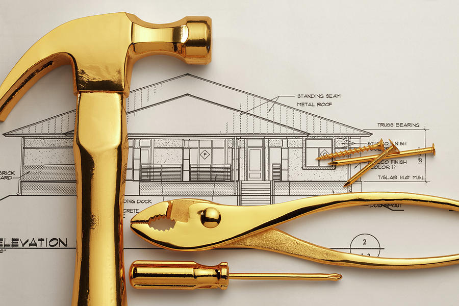 Gold Plated Tools And Blueprints Photograph by Dny59