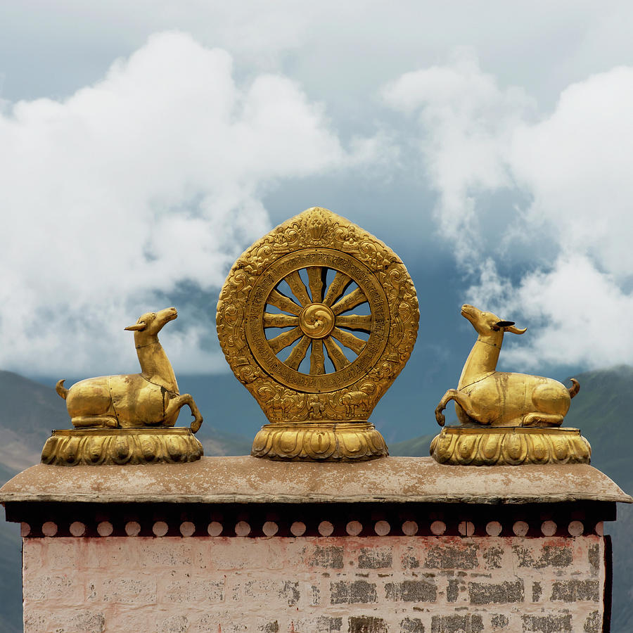 Gold Religious Symbols On Top Of A Wall Photograph by Keith Levit / Design Pics