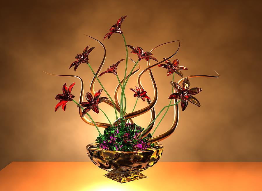 Gold Digital Art - Gold Spirals Glass Flowers by Louis Ferreira