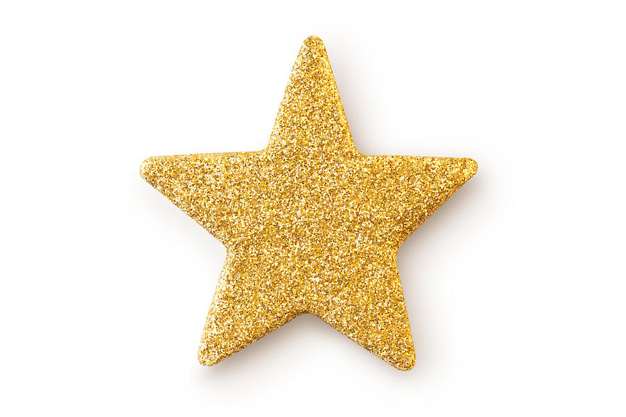 Gold star. Christmas decoration. Photograph by Malerapaso