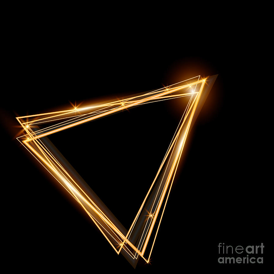 Line Digital Art - Gold Triangle Glowing Frame. Abstract by Ttp999