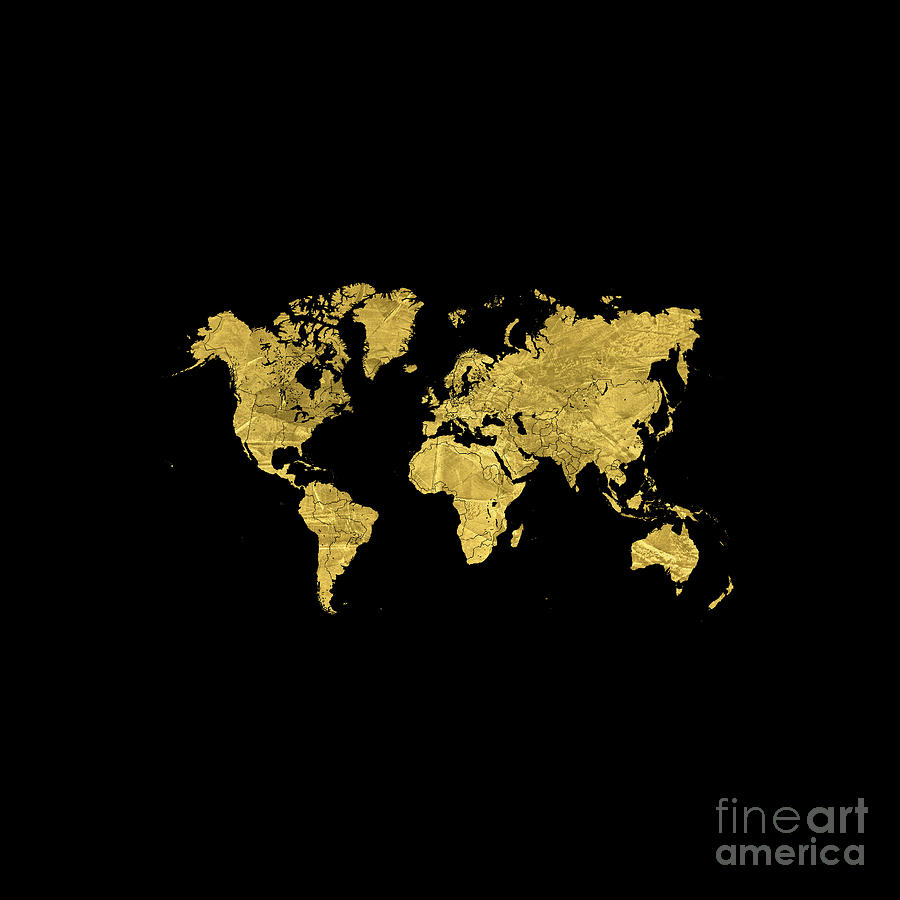 Gold World Map Digital Art By Voros Edit - Black and gold world map