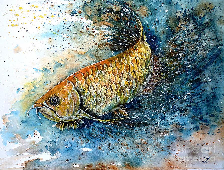 Arowana Painting - Golden Arowana by Zaira Dzhaubaeva