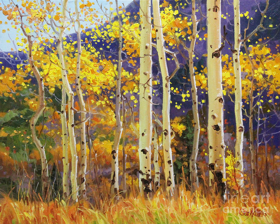 Golden Aspen W. Mystical Purple Painting by Gary Kim