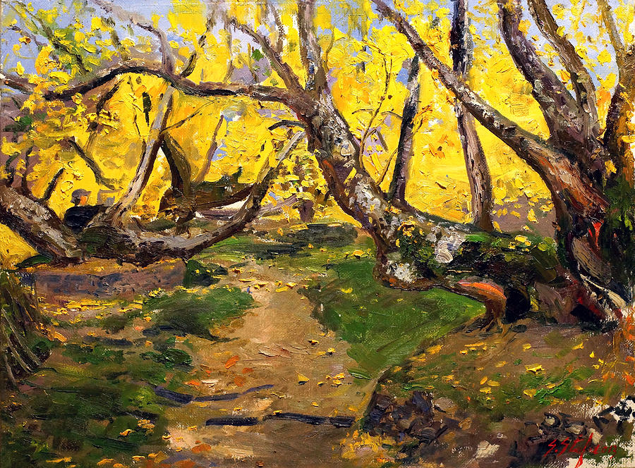 Forest Painting - Golden Autumn - Drenova by Sefedin Stafa