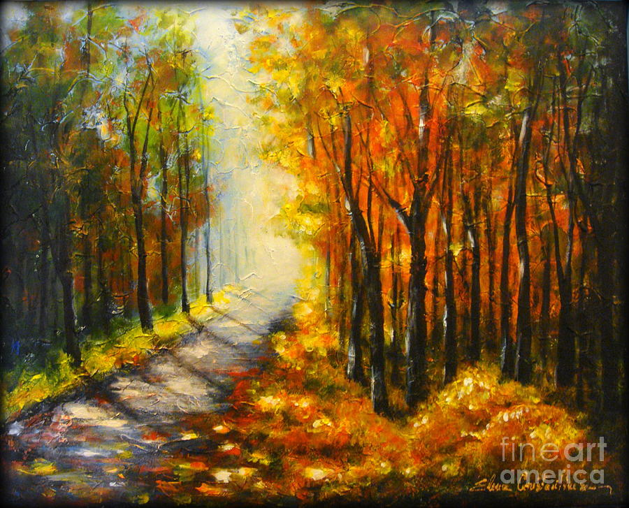 Forest Painting - Golden Autumn by Elena  Constantinescu