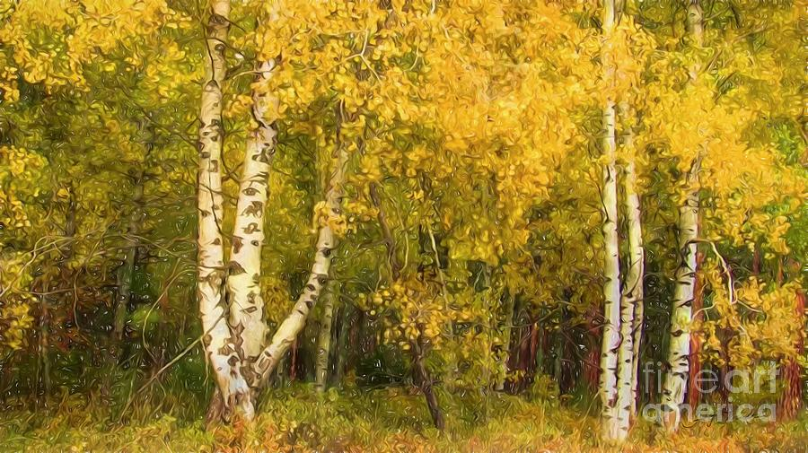 Nature Painting - Golden Autumn Forest Mixed Media Painting by Heinz G Mielke