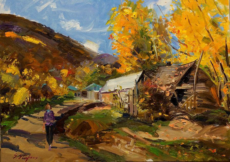 Landscape Painting - Golden Autumn In Vithkuq Korce by Sefedin Stafa