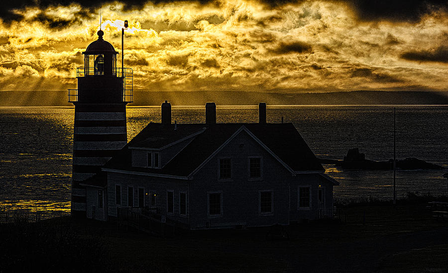 Golden Light Photograph - Golden Backlit West Quoddy Head Lighthouse by Marty Saccone