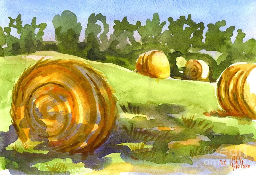 Hay Bales Painting - Golden Bales In The Morning by Kip DeVore