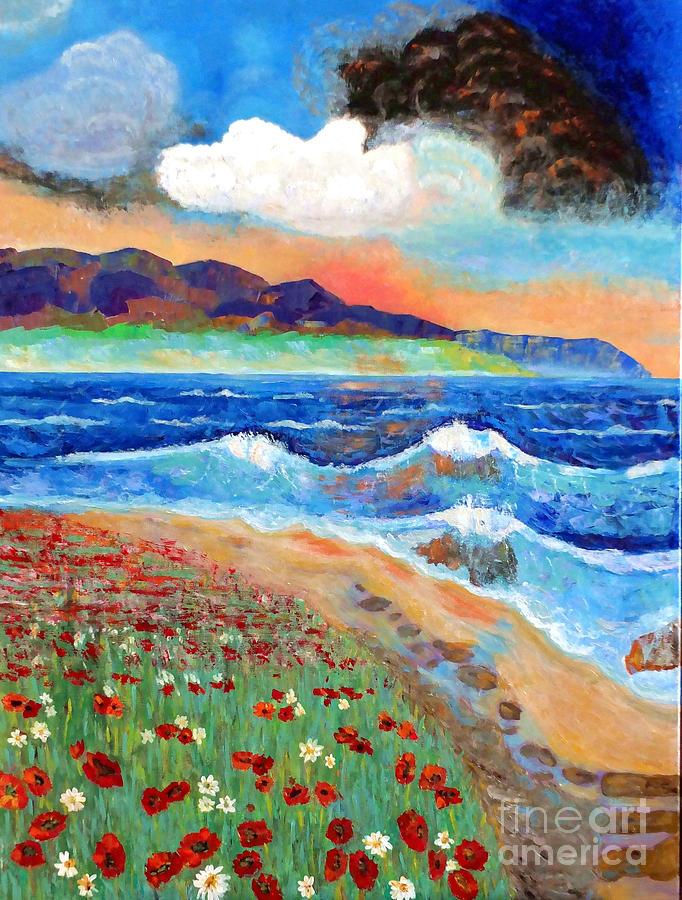 Sea Painting - Golden Beach 1 by Vicky Tarcau