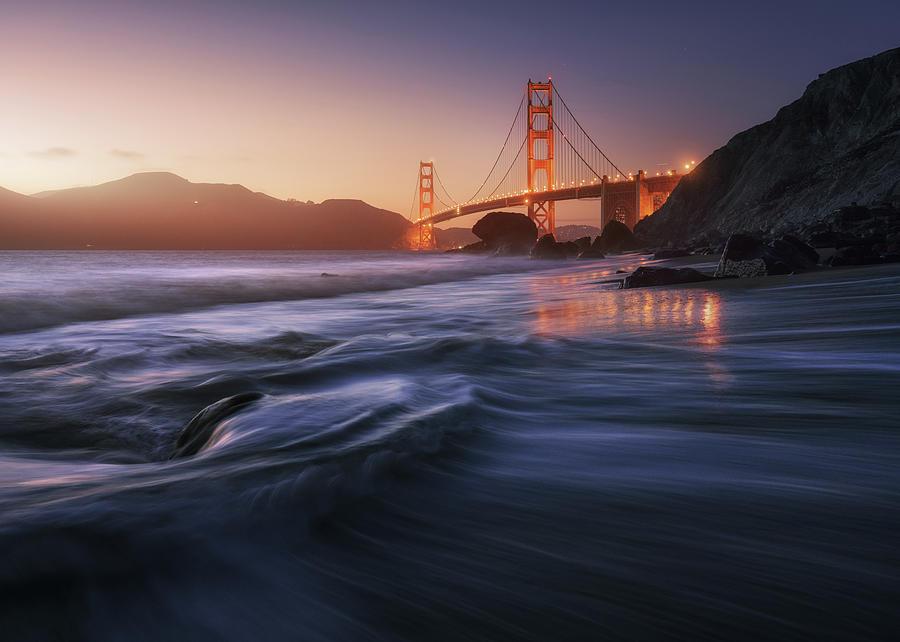 Usa Photograph - Golden Beach by Juan Pablo De