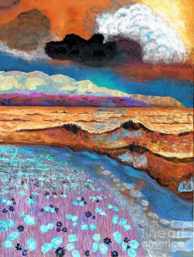 Abstract Digital Art - Golden Beach1 by Vicky Tarcau