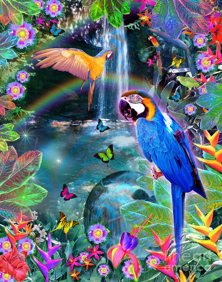 Alixandra Mullins Digital Art - Golden Bluebirds Paradise Version 2 by Alixandra Mullins