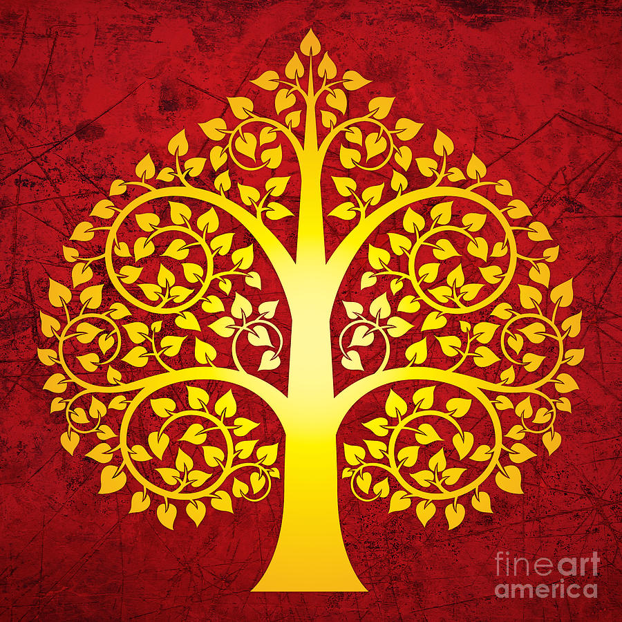 Thai Style Digital Art - Golden Bodhi Tree No.1 by Bobbi Freelance