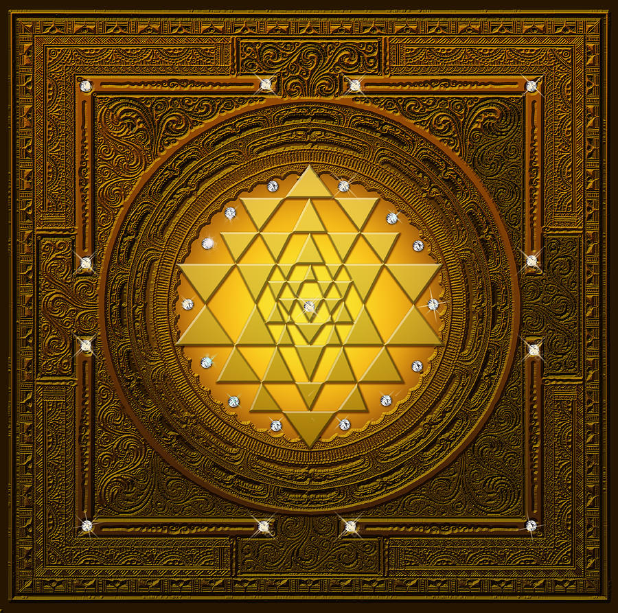 Mandala Digital Art - Golden-briliant Sri Yantra by Lila Shravani