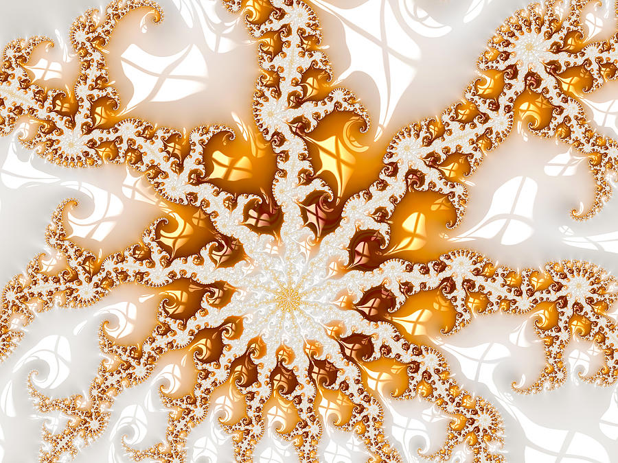 Golden Digital Art - Golden brown and white luxe abstract art by Matthias Hauser