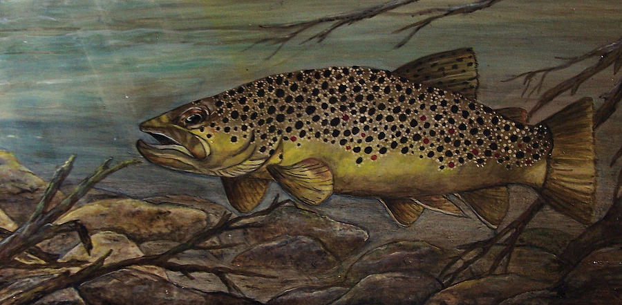 Trout Painting - Golden Brown by Kathy Lovelace
