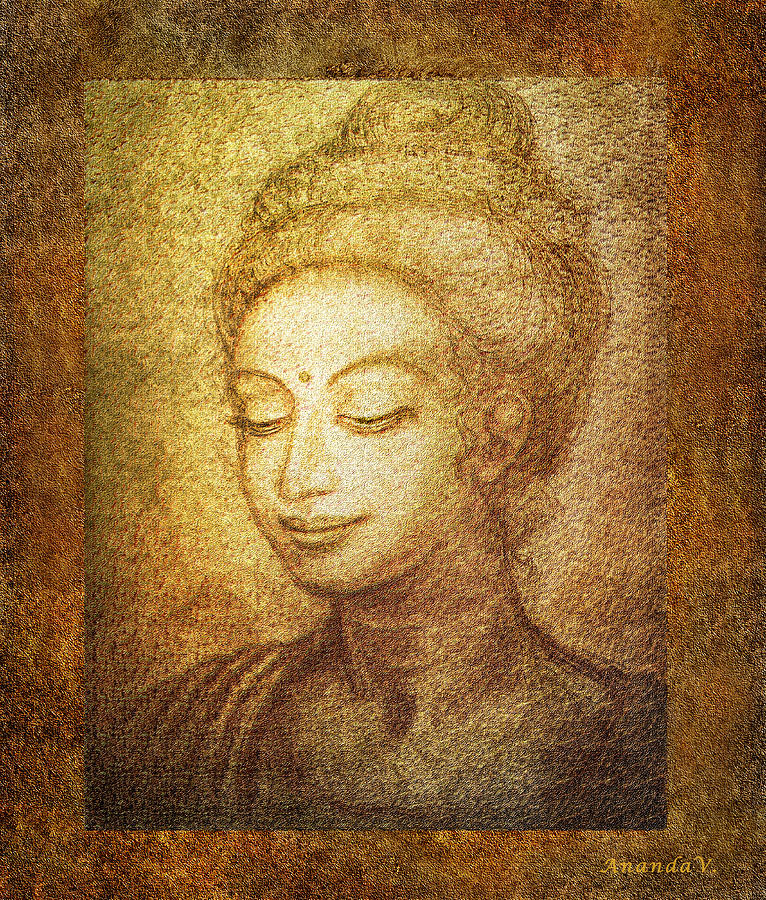 Buddha Mixed Media - Golden Buddha by Ananda Vdovic