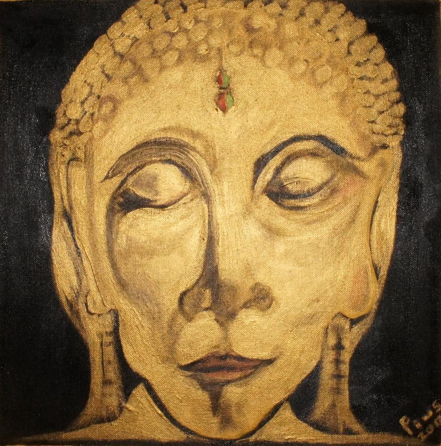 Golden Buddha Nirvana Painting by Pius Kendakur