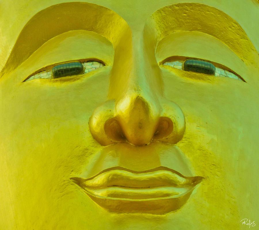 Buddha Photograph - Golden Buddha Smile by Allan Rufus