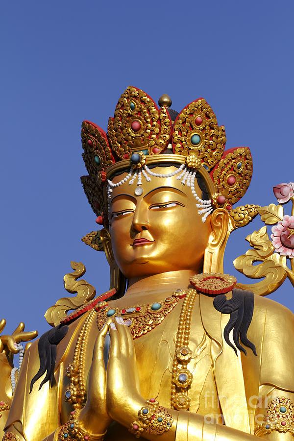 golden buddha statue at the buddha park in kathmandu nepal