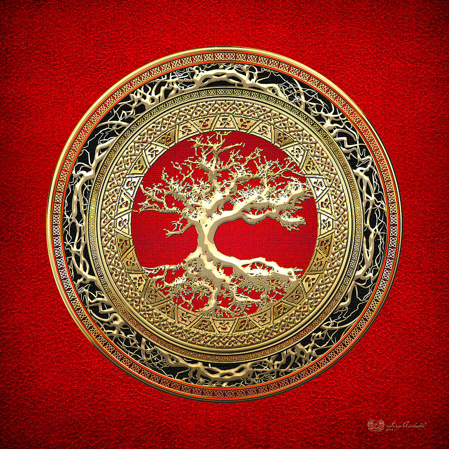 Golden Celtic Tree of Life  by Serge Averbukh