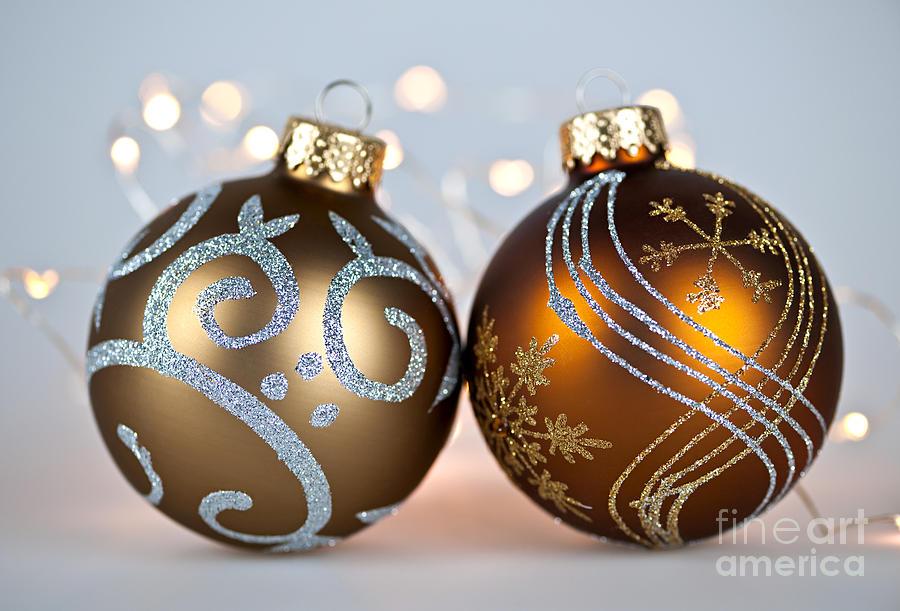 Christmas Photograph - Golden Christmas Ornaments by Elena Elisseeva