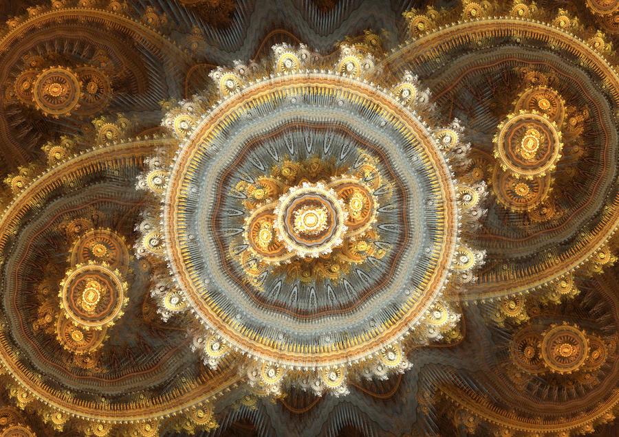 Golden Clockwork Digital Art