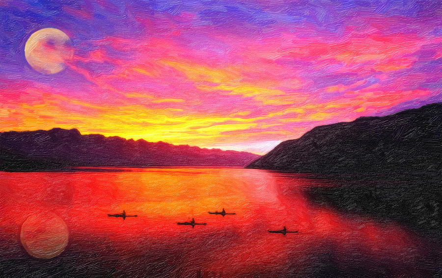 Boating Painting - Golden Cove  by MotionAge Designs