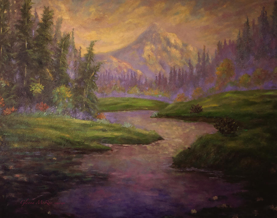 Mountain Painting - Golden Dawn At Mt. Hood by Glenna McRae
