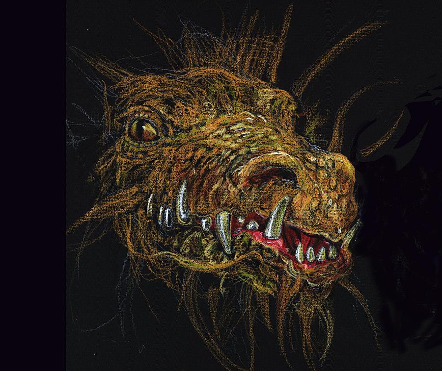 Dragon Drawing - Golden Dragon by Lynette Yencho