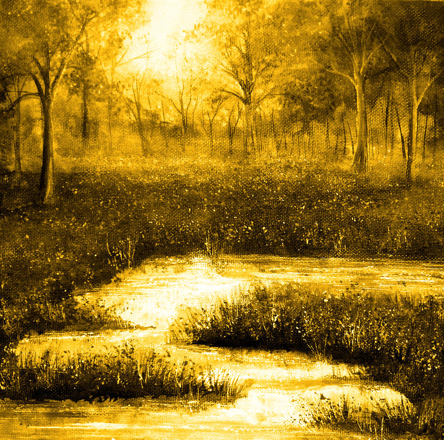 Nature Painting - Golden Evening by Ann Marie Bone