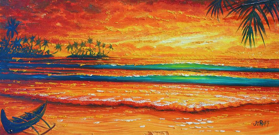 Seascape Painting - Golden Evening With My Canoe by Joseph   Ruff