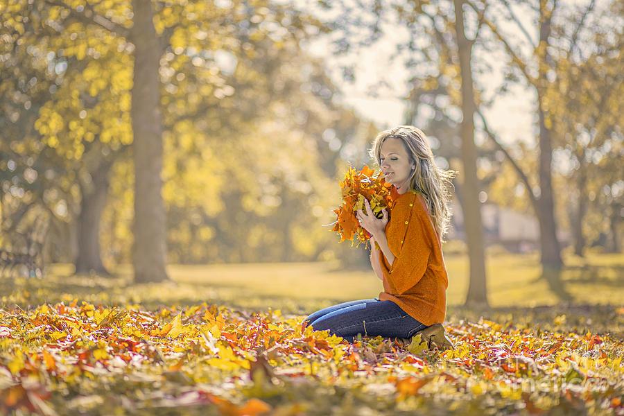Girl Photograph - Golden Fall by Evelina Kremsdorf